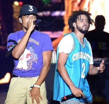 "Watch Chance The Rapper join J Cole during his set at Bonnaro to perform ""No Problems"" from his new album Coloring Book"