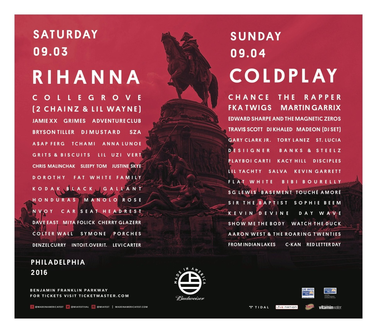Made In America Announces DayLineups