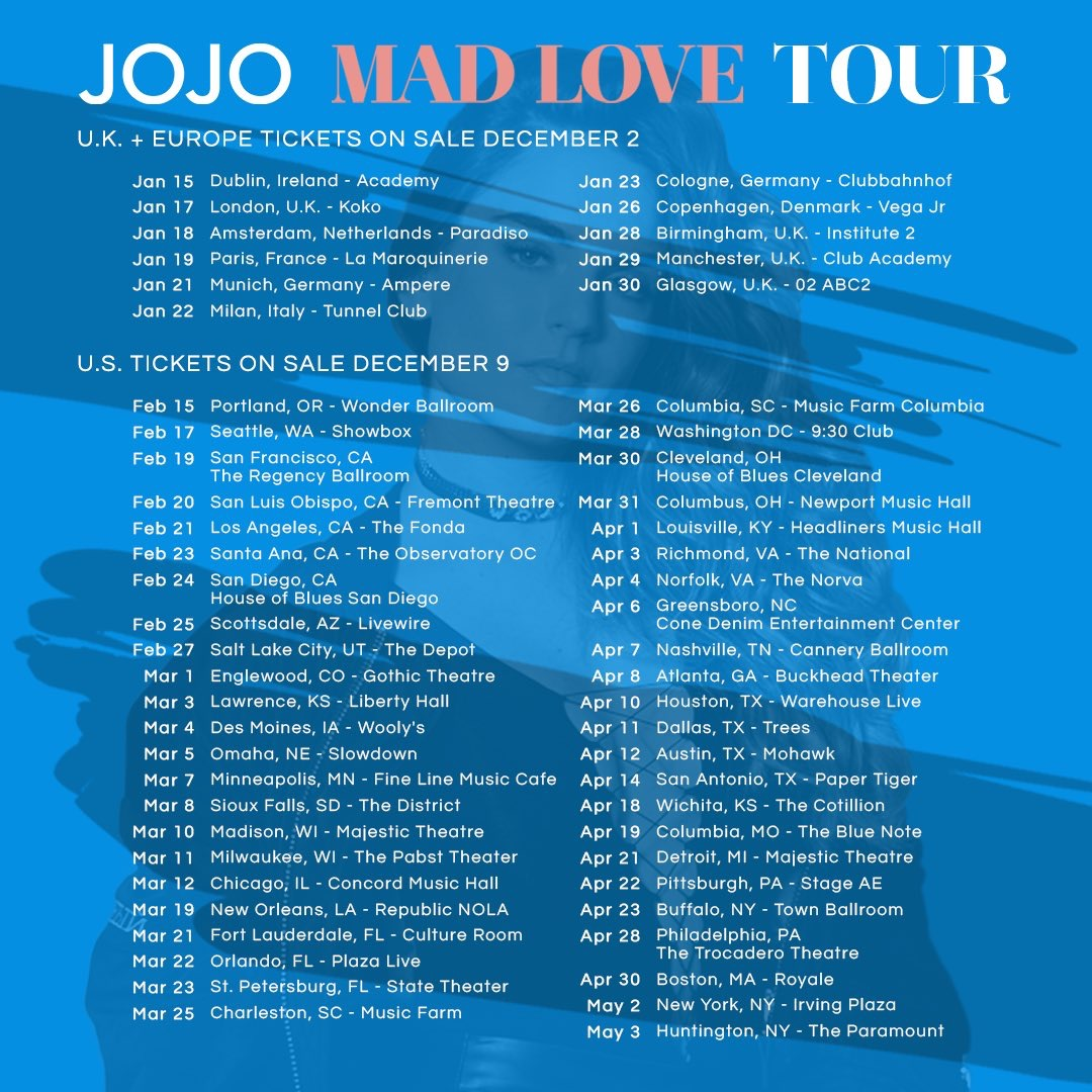 "JoJo Announces Her ""Mad Love Tour"""